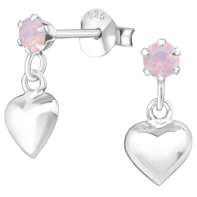 Pink Heart Swarovski Earrings - Sterling Silver