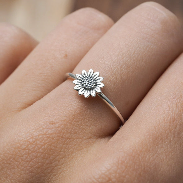 Delicate Sunflower Ring - Sterling Silver