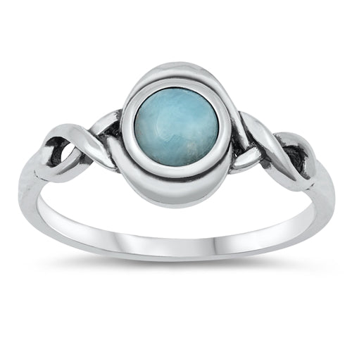 'Lora' Larimar Ring - Sterling Silver