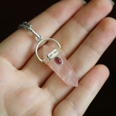 Nyx Necklace - Rose Quartz with Red Garnet