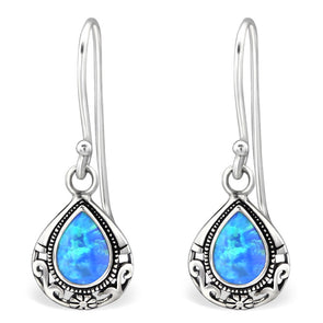 Blue Teardrop Earrings - Sterling Silver
