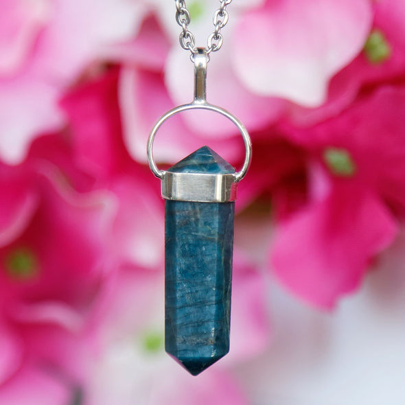 Blue Apatite Necklace - Piece #32 (Sterling Silver Pendant)