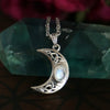 sterling silver rainbow moonstone pendant necklace, boho pendant