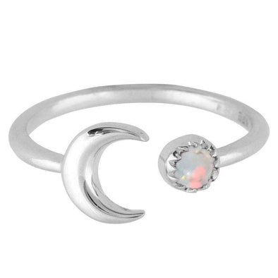 Crescent Opal Ring - Sterling Silver