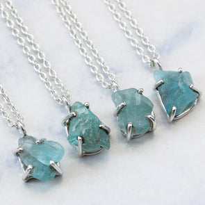 *Seconds* Raw Blue Apatite Necklace - Sterling Silver