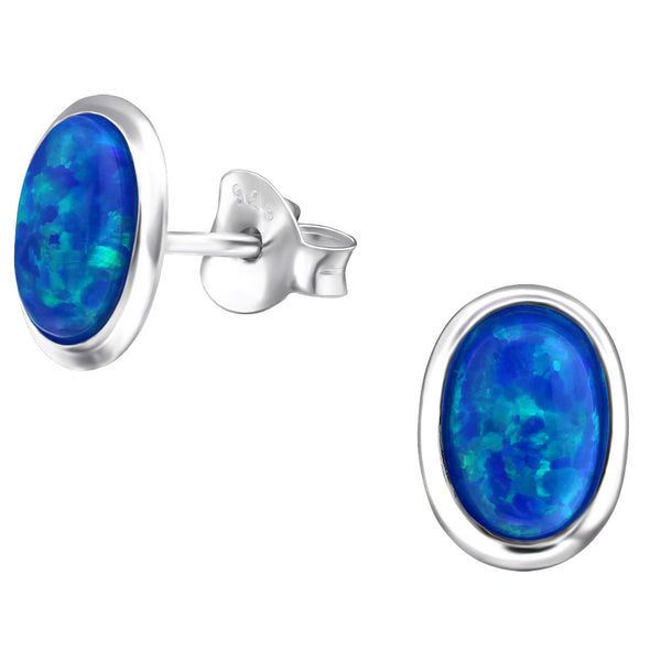 Blue Oval Earrings - Sterling Silver