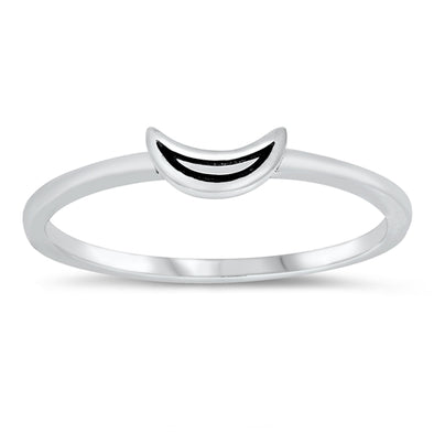 Mini Crescent Moon Ring - Sterling Silver