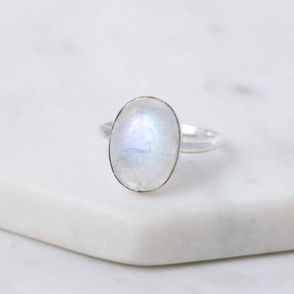 Ellipse Rainbow Moonstone Ring - Sterling Silver