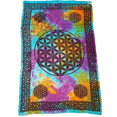 Flower of Life Tie Dye Tapestry