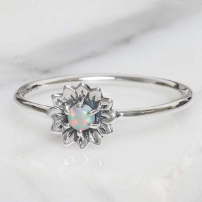 Delicate Sunflower Opal Ring - Sterling Silver
