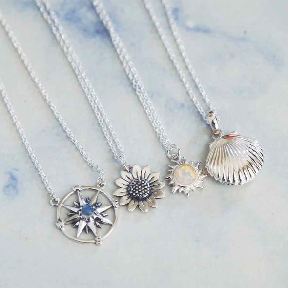 Guiding Light Compass Necklace (Rainbow Moonstone) - Sterling Silver