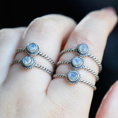 Rainbow Moonstone Twist Ring - Sterling Silver