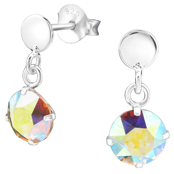 Rainbow Swarovski Drop Earrings - Sterling Silver