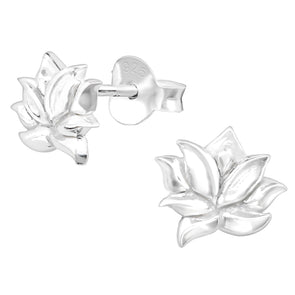 Silver Lotus Earrings - Sterling Silver
