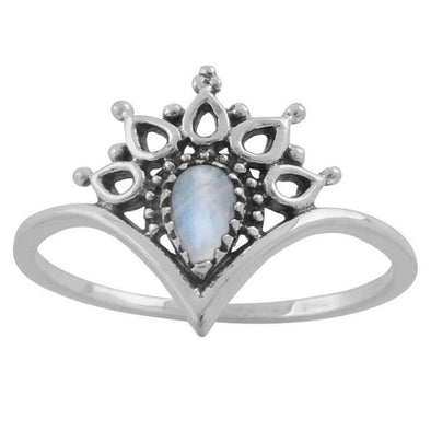 Hatha Rainbow Moonstone Ring - Sterling Silver