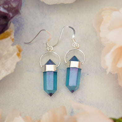 Aqua Aura Quartz Earrings - Sterling Silver