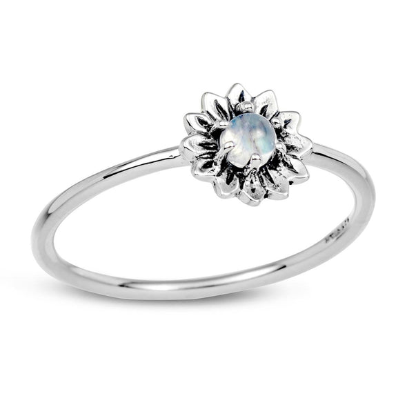 Rainbow Moonstone 'Sunflower' Ring - Sterling Silver