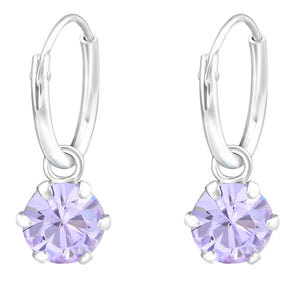 Purple Swarovski Hoop Earrings - Sterling Silver
