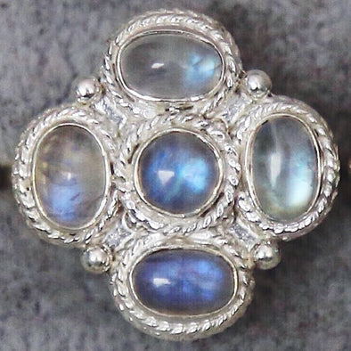Rainbow Moonstone 'Iah' Ring * - Sterling Silver