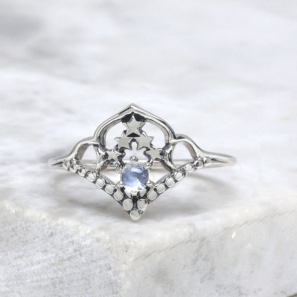 Space Cluster Ring (Rainbow Moonstone) - Sterling Silver