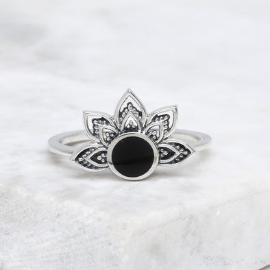 Venus Rising Onyx Ring - Sterling Silver