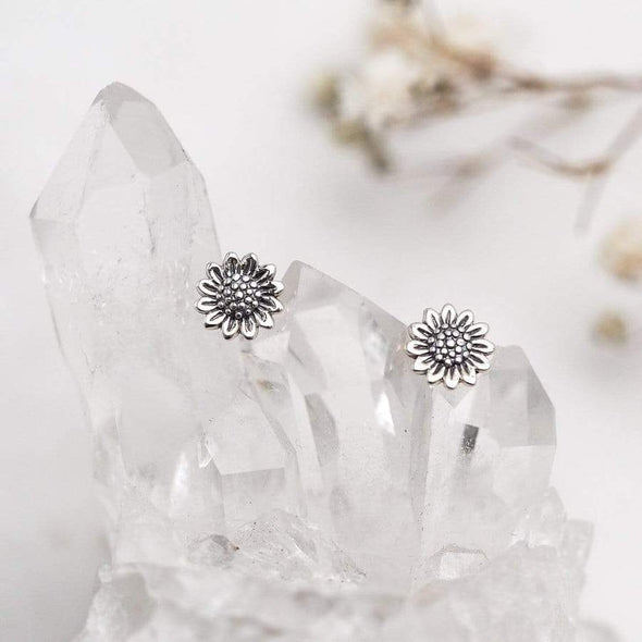 Delicate Sunflower Studs - Sterling Silver