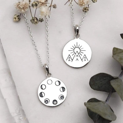 Under The Moon Phases Necklace - Sterling Silver (Double-sided)