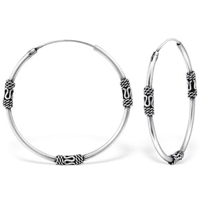 Bali Hoop Earrings - Sterling Silver