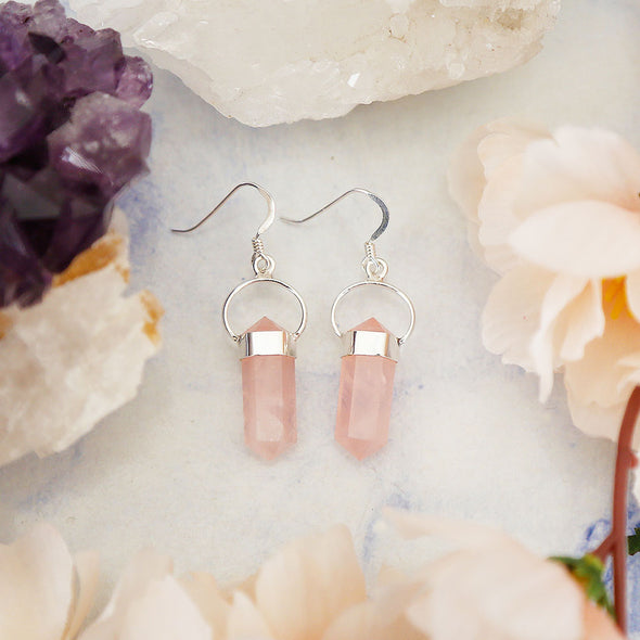 Rose Quartz Earrings - Sterling Silver
