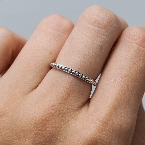 Beaded Stacker Ring - Sterling Silver