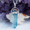 Aqua Aura Quartz sterling silver necklace pendant gemstone crystals