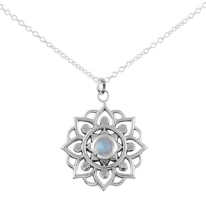 Snowflake Mandala Necklace (Rainbow Moonstone) - Sterling Silver