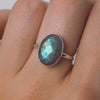 Ellipse Labradorite Ring - Sterling Silver