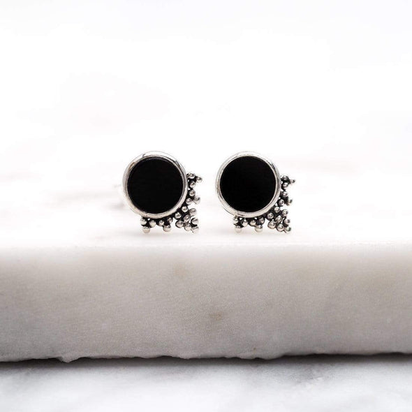 Mystic Mirror Onyx Studs - Sterling Silver