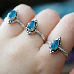 Blue Apatite 'Dream' Ring - Sterling Silver