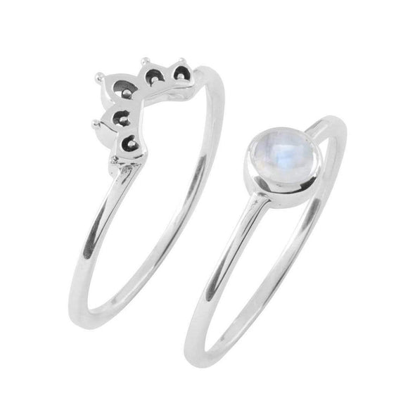 Elixir Moonstone Ring Set - Sterling Silver
