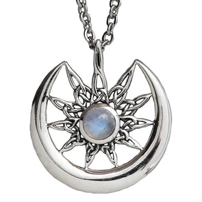 Rainbow Moonstone 'Moonlight' Necklace - Sterling Silver Pendant