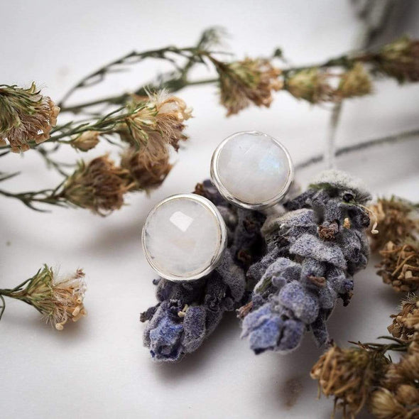 Round Rainbow Moonstone Studs - Sterling Silver