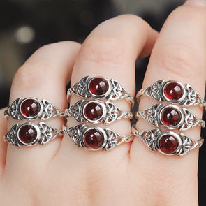 Red Garnet 'Alvilda' Ring - Sterling Silver