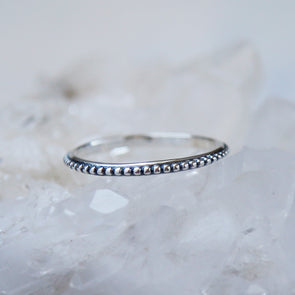 Beaded Stacking Ring - Sterling Silver