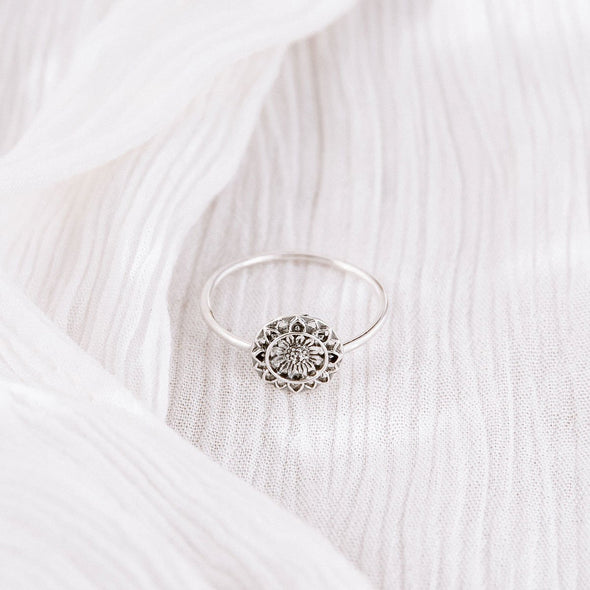 Sunflower Mantra Ring - Sterling Silver