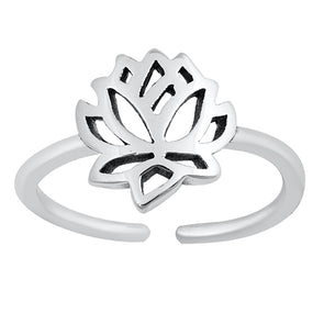 Lotus Adjustable Midi Ring - Sterling Silver