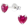 Small Ruby Heart Earrings - Sterling Silver