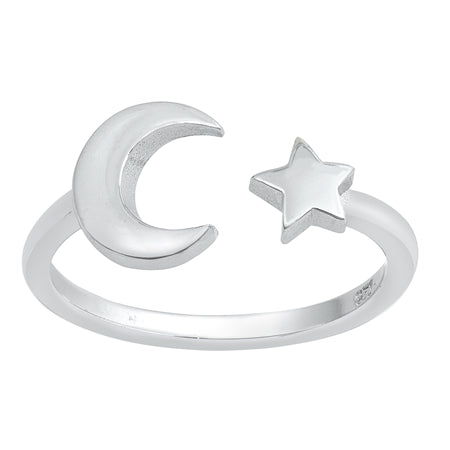 Moon & Star Adjustable Midi Ring - Sterling Silver