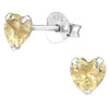 Small Citrine Heart Earrings - Sterling Silver