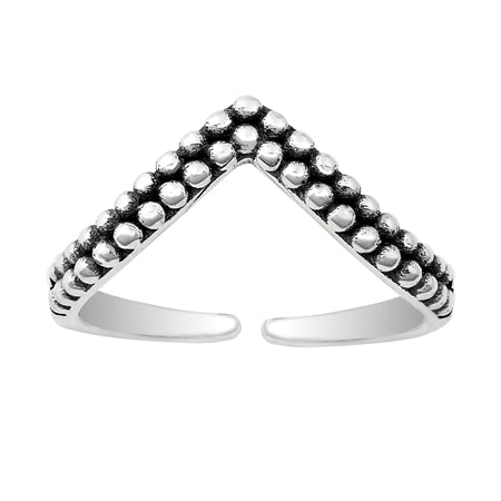 Beaded V Adjustable Midi Ring - Sterling Silver