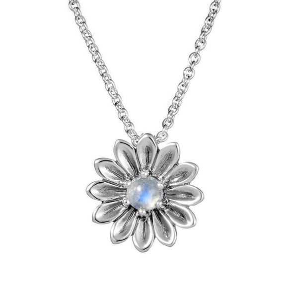 Sunflower Moonstone Necklace - Sterling Silver