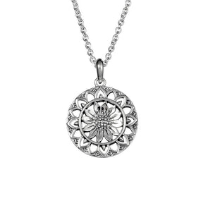 Sunflower Mantra Necklace - Sterling Silver