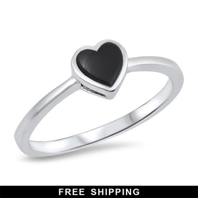 Black Heart Ring - Sterling Silver (Size 4 3/4)