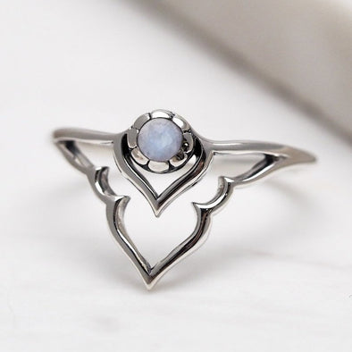 Rainbow Moonstone 'Dainty Radiant Temple' Ring - Sterling Silver
